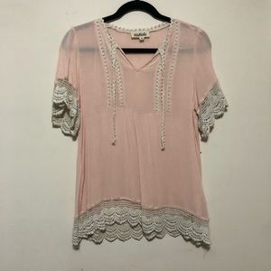 Listicle Lace Trimmed Blouse